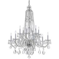 Crystorama 1112-CH-CL-MWP Traditional Crystal 12 Candle 36 Inch Diameter 40 Inch Tall Hanging Chandelier - Chrome
