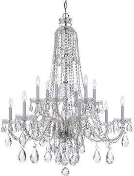 Crystorama 1112-CH-CL-S Traditional Crystal Polished Chrome Chandelier Light