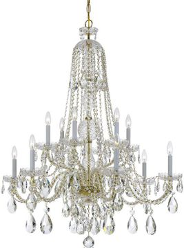 Crystorama 1112-PB-CL-SAQ Traditional Crystal Polished Brass Chandelier Lamp