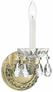 Crystorama 1121-PB-CL-SAQ Traditional Crystal Polished Brass Candle Wall Lamp