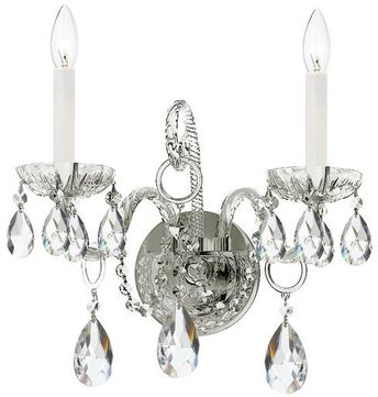 Crystorama 1122-CH-CL-SAQ Traditional Crystal Polished Chrome Candle Light Sconce