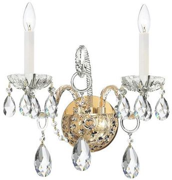 Crystorama 1122-PB-CL-SAQ Traditional Crystal Polished Brass Candle Lamp Sconce