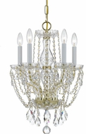 Crystorama 1129-PB-CL-SAQ Traditional Crystal Polished Brass Mini Hanging Chandelier