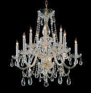 Crystorama 1130-PB-CL-MWP Traditional Crystal 24 Inch Tall Polished Brass 10 Candle Dining Chandelier