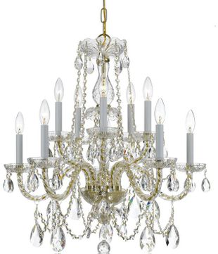 Crystorama 1130-PB-CL-S Traditional Crystal Polished Brass Lighting Chandelier