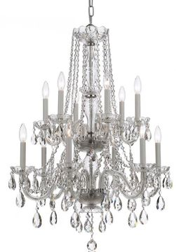 Crystorama 1137-CH-CL-SAQ Traditional Crystal Polished Chrome Chandelier Light