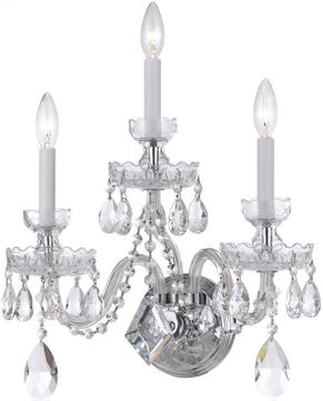 Crystorama 1143-CH-CL-S Traditional Crystal Polished Chrome Candle Wall Sconce Lighting
