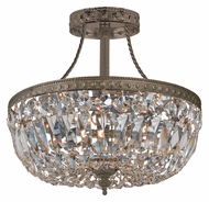 Crystorama 119-10-EB-CL-MWP Traditional Crystal Antique Brass Finish Ceiling Mount 10 Inch Diameter Semi Flush Lighting