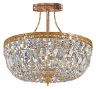 Crystorama 119-10-OB-CLMWP Richmond Small Old Brass 10 Inch Diameter Crystal Semi Flush Mount Lighting Fixture