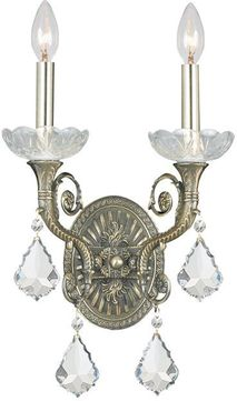 Crystorama 1482-HB-CL-S Majestic Historic Brass Candle Wall Sconce Light