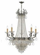 Crystorama 1486-HB-CL-MWP Majestic Medium 33 Inch Diameter 5 Candle Historic Brass Chandelier Lighting