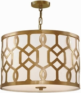 Crystorama 2265-AG Jennings Aged Brass Drum Pendant Light Fixture
