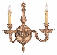 Crystorama 2402-OB Novella Olde Brass Finish 14 Inch Wide 2 Candle Wall Sconce Lamp