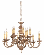 Crystorama 2412-OB Oxford Large 32 Inch Diameter 12 Candle Olde Brass Antique Chandelier Lighting