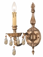 Crystorama 2501-OB-GT-MWP Novella 14 Inch Tall Traditional Olde Brass Finish Candle Sconce - Golden Teak Crystal
