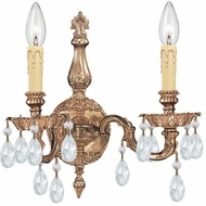 Crystorama 2502-OB-CL-S Cast Brass Wall Mount Olde Brass Candle Wall Sconce