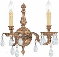 Crystorama 2502-OB-CL-SAQ Cast Brass Wall Mount Olde Brass Candle Wall Lamp