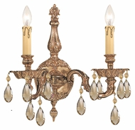 Crystorama 2502-OB-GT-MWP Oxford 15 Inch Wide Olde Brass 2 Candle Sconce - Golden Teak Crystal