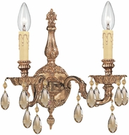 Crystorama 2502-OB-GTS Olde Brass Wall Light Fixture