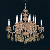 Crystorama 2512-OB-GT-MWP Oxford Olde Brass Golden Teak Crystal 12 Candle Chandelier Lamp