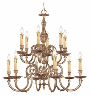 Crystorama 2612-OB Novella 2 Tier Olde Brass Traditional 12 Candle Ceiling Chandelier
