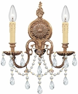 Crystorama 2702-OB-CL-SAQ Cast Brass Wall Mount Olde Brass Candle Sconce Lighting