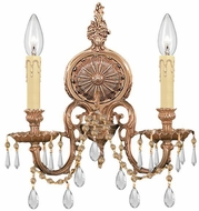 Crystorama 2802-OB-CL-SAQ Cast Brass Wall Mount Olde Brass Candle Lamp Sconce