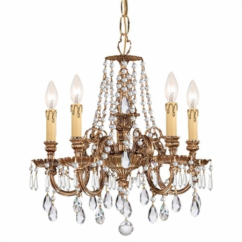 Crystorama 2805-OB-CL-S Novella Olde Brass Clear Swarovski Strass Mini Chandelier Lamp