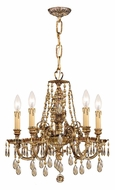 Crystorama 2805-OB-GT-MWP Novella 18 Inch Diameter Olde Brass Golden Teak Mini Chandelier Light