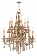 Crystorama 2812-OB-GT-MWP Novella Golden Teak 32 Inch Tall Olde Brass Finish Candle Chandelier