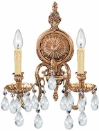 Crystorama 2902-OB-CL-SAQ Cast Brass Wall Mount Olde Brass Candle Wall Light Fixture