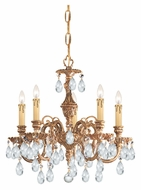 Crystorama 2905-OB-CL-MWP Novella 18 Inch Diameter Mini 5 Candle Olde Brass Lighting Chandelier