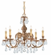 Crystorama 2906-OB-CL-MWP Novella Olde Brass Finish 6 Candle 25 Inch Diameter Small Chandelier Lighting
