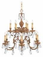 Crystorama 2912-OB-CL-MWP Novella Olde Brass 2 Tier 26 Inch Diameter Chandelier Light Fixture - 12 Candles