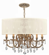 Crystorama 2916-OB-SAW-CLQ Brentwood Olde Brass Drum Hanging Light Fixture