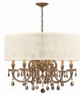 Crystorama 2916-OB-SAW-GTM Brentwood Golden Teak Crystal Olde Brass Antique White Shade Chandelier