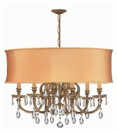 Crystorama 2916-OB-SHG-CLM Brentwood Clear Crystal 22 Inch Diameter Lighting Chandelier - Harvest Gold Shade
