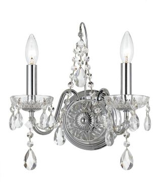 Crystorama 3022-CH-CL-S Butler Polished Chrome Candle Wall Lighting Sconce