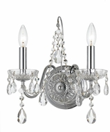 Crystorama 3022-CH-CL-SAQ Butler Polished Chrome Candle Wall Sconce Lighting