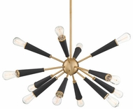 Crystorama 3812-AG Zodiac Modern Aged Brass Chandelier Light