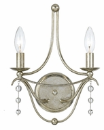 Crystorama 432-SA Metro 2 Candle 14 Inch Tall Antique Silver Lamp Sconce