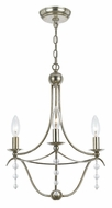 Crystorama 433-SA Metro Traditional 18 Inch Tall Antique Silver 3 Candle Mini Chandelier Light Fixture