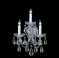 Crystorama 4403-CH-CL-MWP Maria Theresa 14 Inch Tall Crystal Polished Chrome Wall Light Fixture - 3 Candles