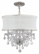 Crystorama 4415-CH-SMW-CLM Brentwood Polished Chrome Clear Crystal Smooth White Shade Chandelier