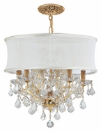 Crystorama 4415-GD-SMW-CLM Brentwood Clear Crystal Gold Finish 20 Inch Diameter Smooth White Shade Chandelier