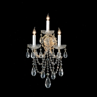 Crystorama 4423-GD-CL-MWP Maria Theresa Wall Mounted Gold Finish 19 Inch Tall 3 Candle Sconce