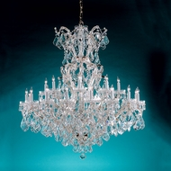 Crystorama 4424-CH-CL-MWP Maria Theresa 46 Inch Diameter Large Polished Chrome 24 Candle Hanging Chandelier
