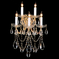 Crystorama 4425-GD-CL-MWP Maria Theresa Golden Finish 22 Inch Tall 5 Candle Wall Light Sconce