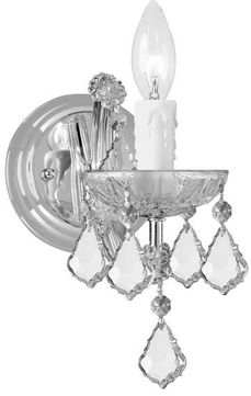 Crystorama 4471-CH-CL-MWP Maria Theresa Polished Chrome Candle Wall Mounted Lamp