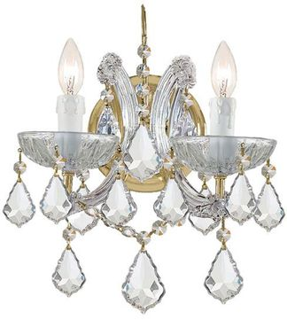 Crystorama 4472-GD-CL-MWP Maria Theresa Gold Candle Lighting Sconce